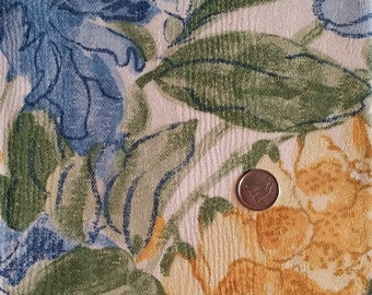 FL024 ~ Floral fabric Watercolor print Yellows Blues Greens Colorful flowers Cotton fabric