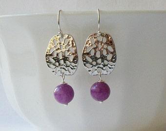 Purple Silver Dangle Earrings