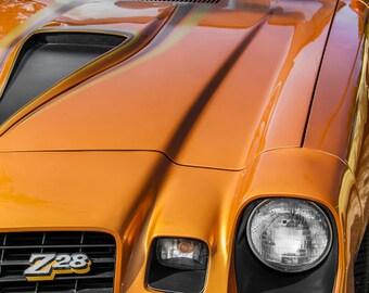 Chevrolet Camaro Z28 Orange Front End Car Photography, Automotive, Auto Dealer, Muscle, Sports, Mechanic, Boys Room, Garage, Dealership Art