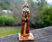 Ceramic Cat - Tiny Porcelain Handmade Shaman Kitty - Figurine  Art Sculpture