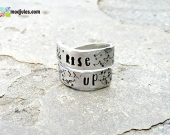 Rise Up Ring, Alexander Hamilton Inspired Ring, Hand Stamped Twist Wrap Ring, Musical Jewelry, Quote Ring, Music Lovers Gift