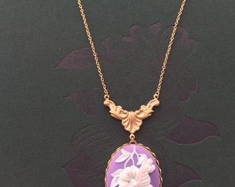 Sale! Butterfly Cameo Pendant Necklace Rococco Elegance Lavender Cream Gold