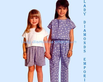Butterick 6185 Girls Pullover Tops Pull-on Pants & Shorts Childs sizes 2 3 4 Very Easy Vintage 80's Summer Sewing Pattern Uncut FF #245