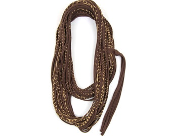 Brown Scarf with Gold Stripes, Gold Striped Scarf, Striped Scarf Gold, Striped Scarf Brown, Infinity Scarf Gold, Gold Infinity Scarf