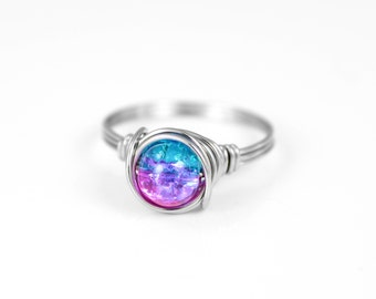 Wire Wrapped Ring - Galaxy Ring - Space Ring - Boho Ring - Gift For Her - Statement Ring - Rings - Pink Blue Ring - Stainless Steel Ring