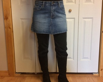 M/L Upcycled Blue Jean Mini Skirt/Women's Size 10/Short Skirt/Denim Skirt/Faded/Uneven/Above the Knee/Recycled Jeans/Repurposed Clothing
