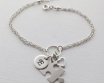 Personalized Puzzle Piece Bracelet in Sterling Silver - Adjustable Personalized Jigsaw Bracelet, Autism Awareness Bracelet