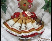 """Primitive Raggedy 2016 """"COOKIE"""" w/wire whisk~Gingerbread Collection~14"""" dol"""