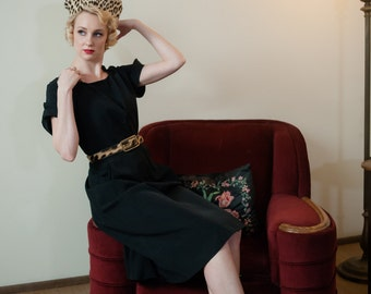 Vintage 1950s Dress - Sophisticated Black Faille 50s Day Dress with Button Front