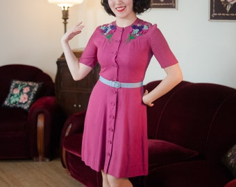 Vintage 1930s Dress - Darling Fuchsia Wool Late 30s Junior's Day Dress with Felt Flower Accents