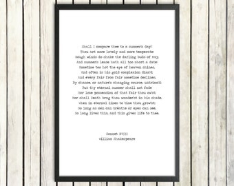 William Shakespeare Printable Love Poem 'Sonnet XVIII' Instant Download Romantic Gift Literature Poster 'Shall I Compare Thee' Summer Print