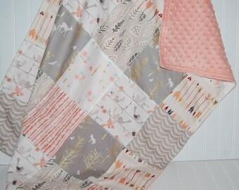 patchwork minky baby blanket - deer baby blanket- arrow baby blanket- bird baby blanket- crib bedding- baby girl bedding