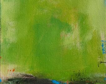 Abstract Landscape Painting, Minimalist Painting, Modern Painting, Spring 12x12 - West Elm artist, Green, Original Art, Wall Decor