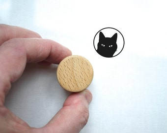 Cat Stamp, Round Rubber Stamp for Cat Lover Gift, Wood Handle