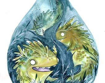 oddfauna water beast  illustration-8.5x11 print