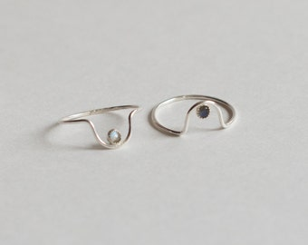 Suma Arch Ring - Tiny Stone, Curved Arc Stacking Ring