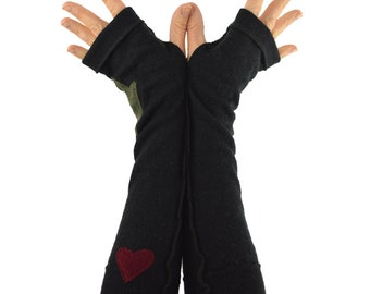 Arm Warmers in Black Merino with Green Star and Burgundy Heart - Upcycled Felted Wool - Long Fingerless Gloves