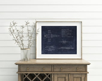 """16 x 20"""" F/A-18 Hornet airplane blueprint art, airplane nursery, aviation decor, aviation wall art, military gifts for him, fighter jet"""