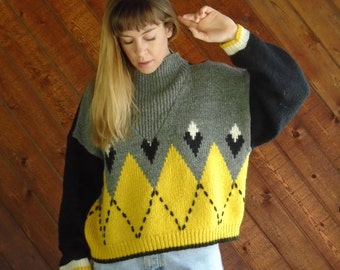 Chunky Cropped Mock Neck Ribbed Pullover Sweater - Vintage 80s - OS OSFM