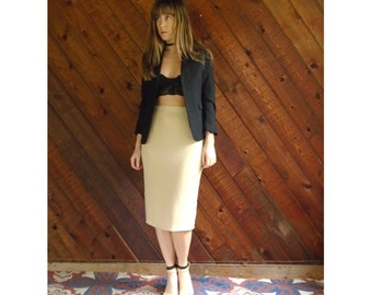 60s Golden Sand High Waist Pencil Skirt - Vintage - S/M 4
