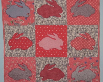 Pink Rabbits Baby Quilt