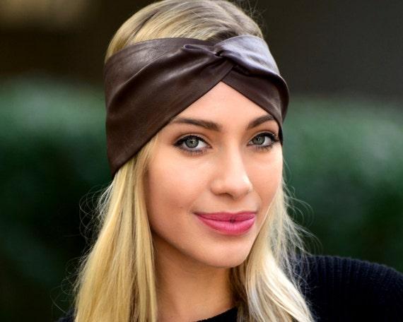 Gift For Her Leather Headband Bohemian Headband Women's Gift Leather Accessory Brown Turban Headband Faux Leather Boho Chic Soft Headband