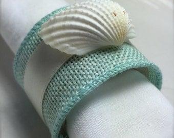 Sea Shell Napkin Ring with Sea Blue Ribbon- Beach Wedding - seashore - white ark clam