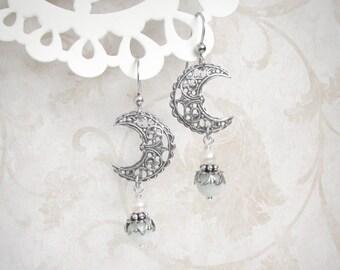 Lunar Effect Drop Earrings - Silver Half Moon Earrings, Aquamarine Earrings, Crescent Moon Earrings, Crescent Earrings, Moonsong Collection