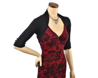 Eco-Friendly Bamboo Summer Shrug Bolero - Black
