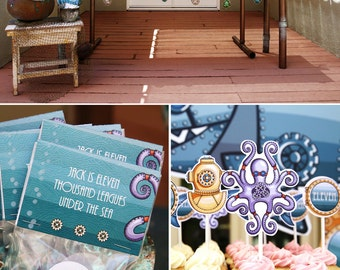 Marine Steampunk Under the Sea Birthday PRINTABLE Party Collection - You Customize EDITABLE TEXT >> Instant Download | Paper and Cake