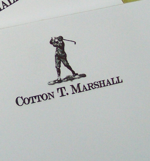 Golf Man Notepads Personalized Monogrammed Sports Golfer Black White Golfing 75 Sheet Notepad Vintage Inspired Gift for Dad Him Ball Driver