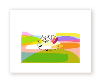 Kiki Island Print - Cat Art - Rainbow - Cat Lover
