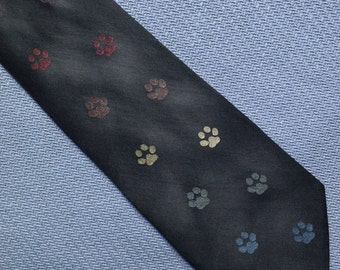 Rainbow necktie, rainbow tie, pawprint, gift for pet lover, animal lover gift, silk tie, silk necktie, multi coloured, handpainted tie, T210