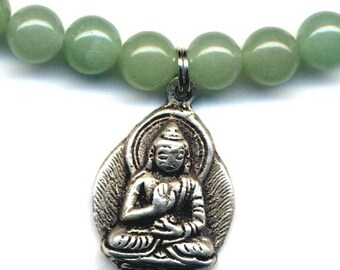 Buddha Pendant, Buddhist Necklace , Buddha Necklace, Tibet Green Onyx Necklace, Handmade Nepal Jewelry by AnnaArt72