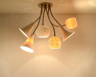 Ceiling Chandelier Lighting: Clay-Light Bouquet with six shades - LED, on sale 18% off