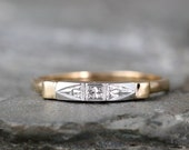 Vintage 14K Yellow and White Gold Wedding Band - Circa early 1960's - Retro Wedding Ring - Mid Century Wedding Jewellery