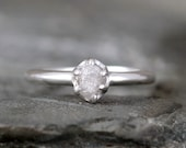 Raw Diamond Engagement Ring - Sterling Silver Six Claw Setting - 1/2 carat Rough Uncut Diamond Gemstone - April Birthstone - Promise Ring