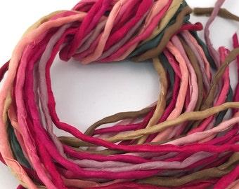 Silk Ribbon Cord Bundle Item No.359 Contains Ten 2mm Silk Ribbons Random Colors
