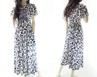Vintage Maxi Dress, 70s Maxi Dress, 70s Boho Maxi Dress, 1970s Maxi Dress, White Blue Dress, Angel Sleeve Maxi, Polka Dot Maxi Dress, xs, s