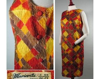 1960s Vintage Eyelash Taffeta Italian Made Shift Dress in Red, Brown and Gold SZ XL