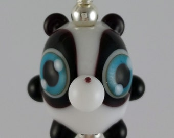 Johnny Panda Lampwork Glass Necklace and Cell Charm