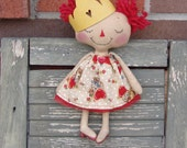 Valentine's Day Princess, vintage retro kitty valentine Day, finished doll