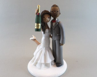 Cake Toppers - Bride & Groom with Champagne Bottle Custom Made Wedding Cake Topper