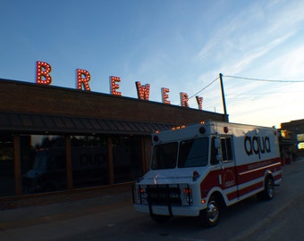 Outdoor  vintage marquee art in BREWERY Sawyer Michigan 3ft by 30