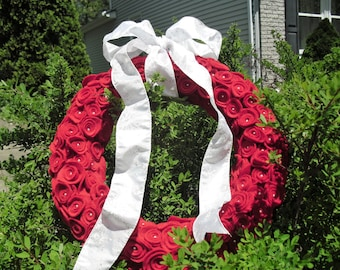Felt Flower Wreath Handmade Red Felt Flowers