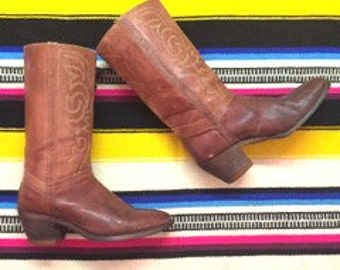 Vintage Cowboy Boots Brown Leather Cowboy Boots Womens Cowboy Boots Cowgirl Boots Size 9 Western Boots Southwestern Boots Leather Boots
