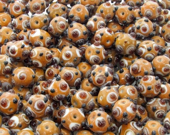 15x12mm Opaque Caramel with Opaque white and Transparent Topaz Dots Handmade Lampwork Glass Beads - Qty 10 (AS45)