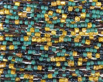 Santorini Opaque Aged Picasso Tile Mix Czech Glass Beads - 3 Strand Hank (AW289)