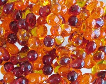 9x6mm Transparent Embers Mix Czech Glass Teardrop Beads - Qty 25 (BS265)