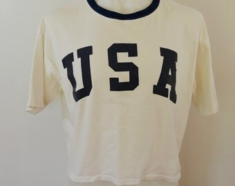 Vintage ITALIAN CLUB t-shirt USA made in usa large ringer muscle shirt 1980's